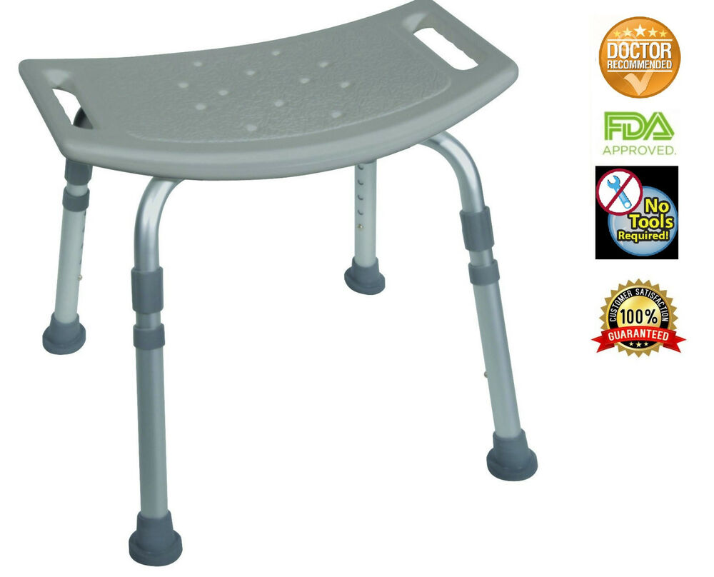 Bath Bench With Out Back Adjustable Legs Height Lightweight Shower Bench Gray Ebay
