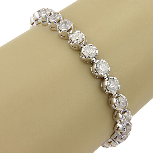 New 14k White Gold 15 12 Carat Diamond Tennis Bracelet Ebay