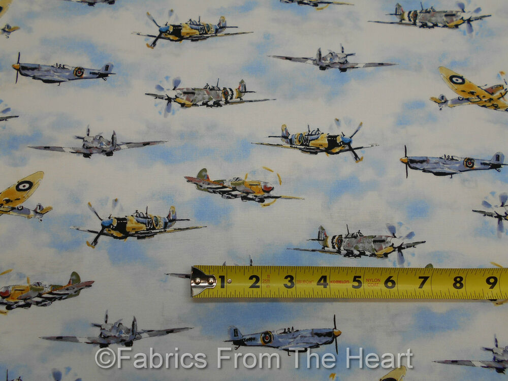 Vintage propeller airplanes transportation by yards robert for Airplane print cotton fabric
