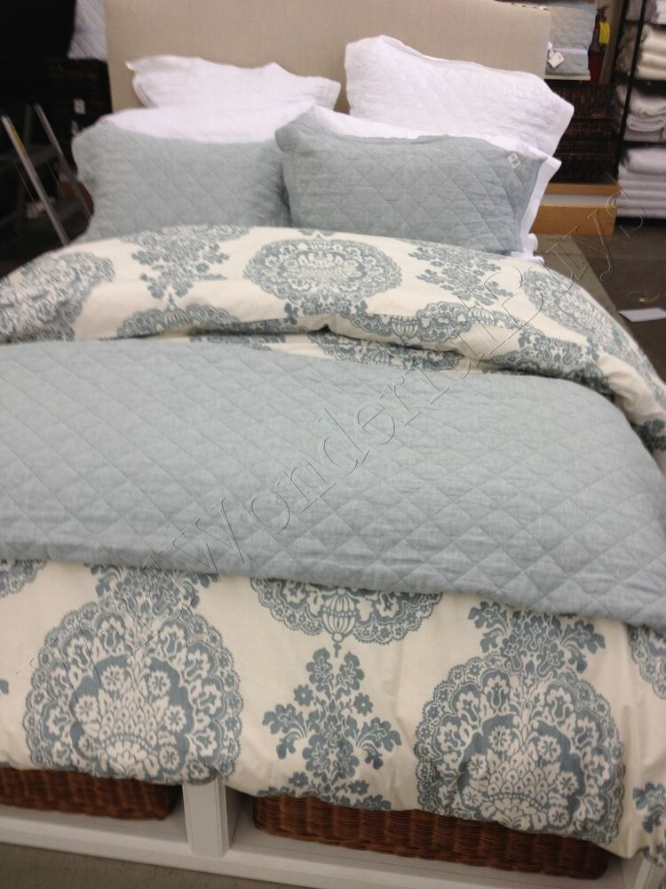 Pottery Barn Lucianna Duvet Cover Blue King Floral