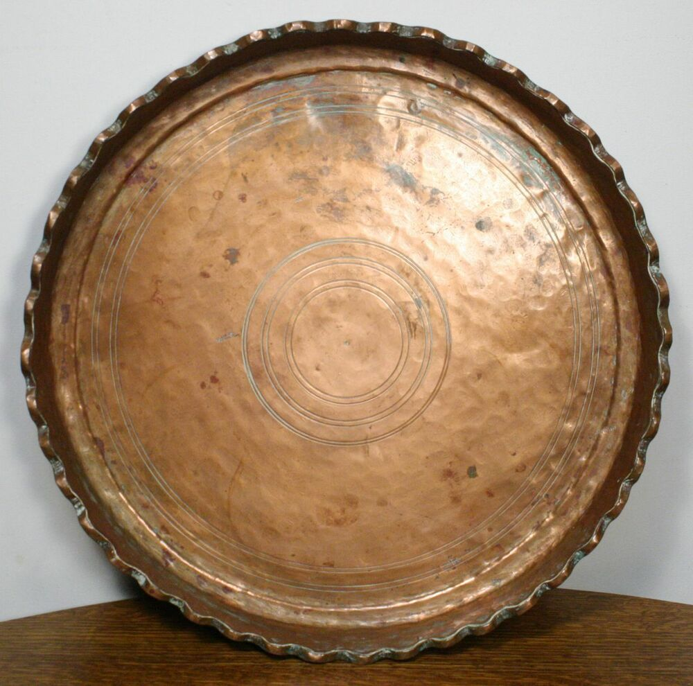 Large Antique Persian Hand Hammered Copper Tray Round