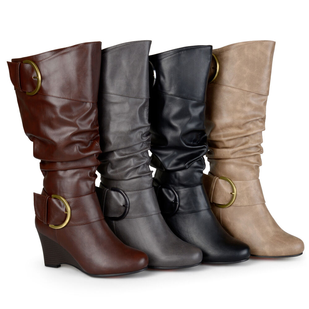 Brinley Co. Womens Wide And Extra-Wide Calf Buckle Tall ...