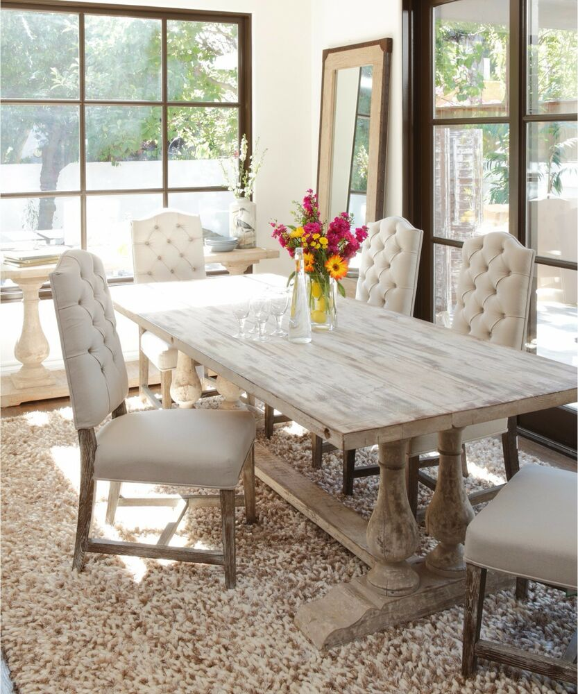 Traditional dining table large unique trestle white rustic for White and wood dining table and chairs