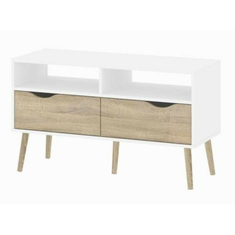 entertainment center wood low profile diana 2 drawer tv stand in white oak ebay. Black Bedroom Furniture Sets. Home Design Ideas