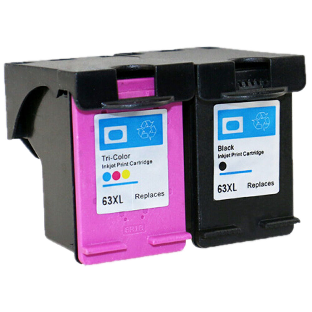 2PK For HP 63XL Black Tri Color Ink Cartridge Show