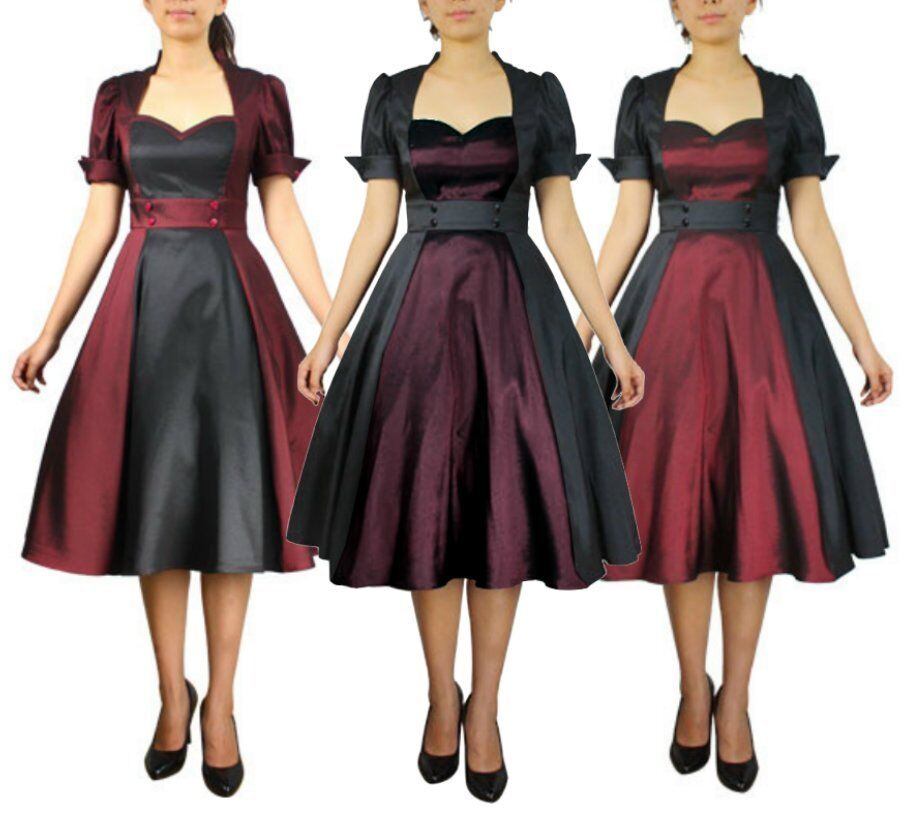 50500 cstd damen kleid rockabilly 50er 60er swing tanz dress burgund 36 58 ebay. Black Bedroom Furniture Sets. Home Design Ideas