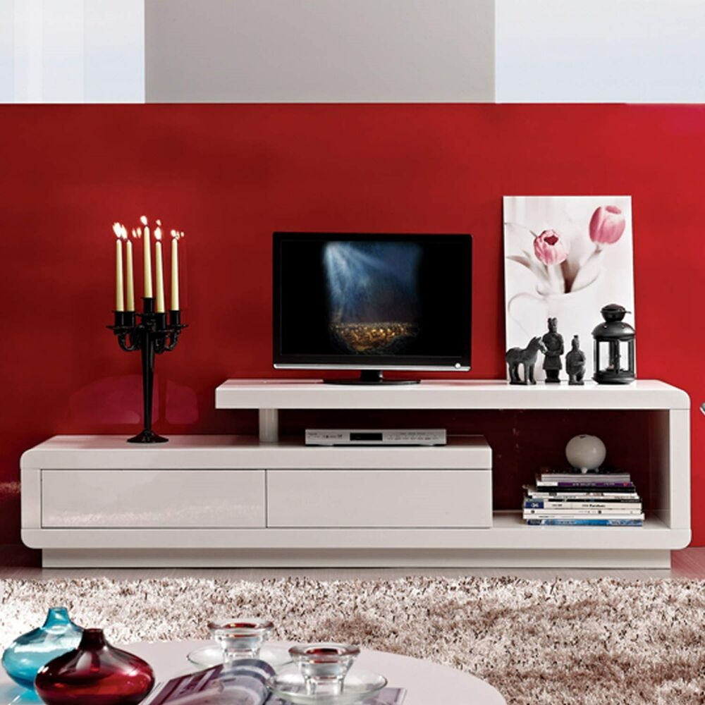 white high gloss tv unit with touch open drawers ebay. Black Bedroom Furniture Sets. Home Design Ideas
