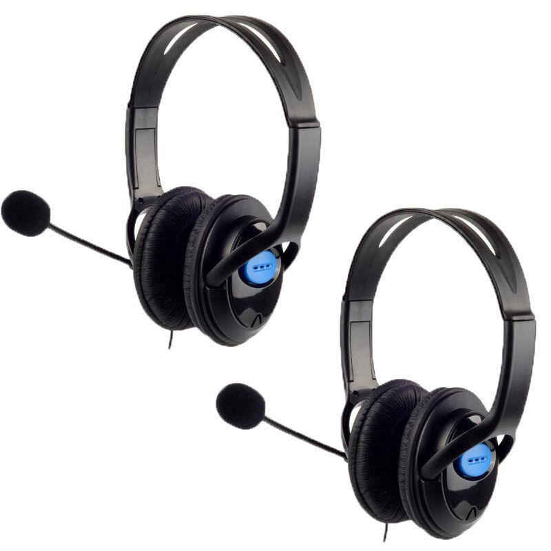 2x stereo wired gaming headsets headphones with mic for. Black Bedroom Furniture Sets. Home Design Ideas
