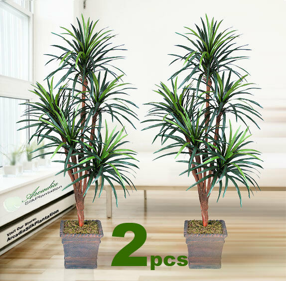 two 6 39 yucca x5 artificial tropical tree silk plant with no pot ebay. Black Bedroom Furniture Sets. Home Design Ideas