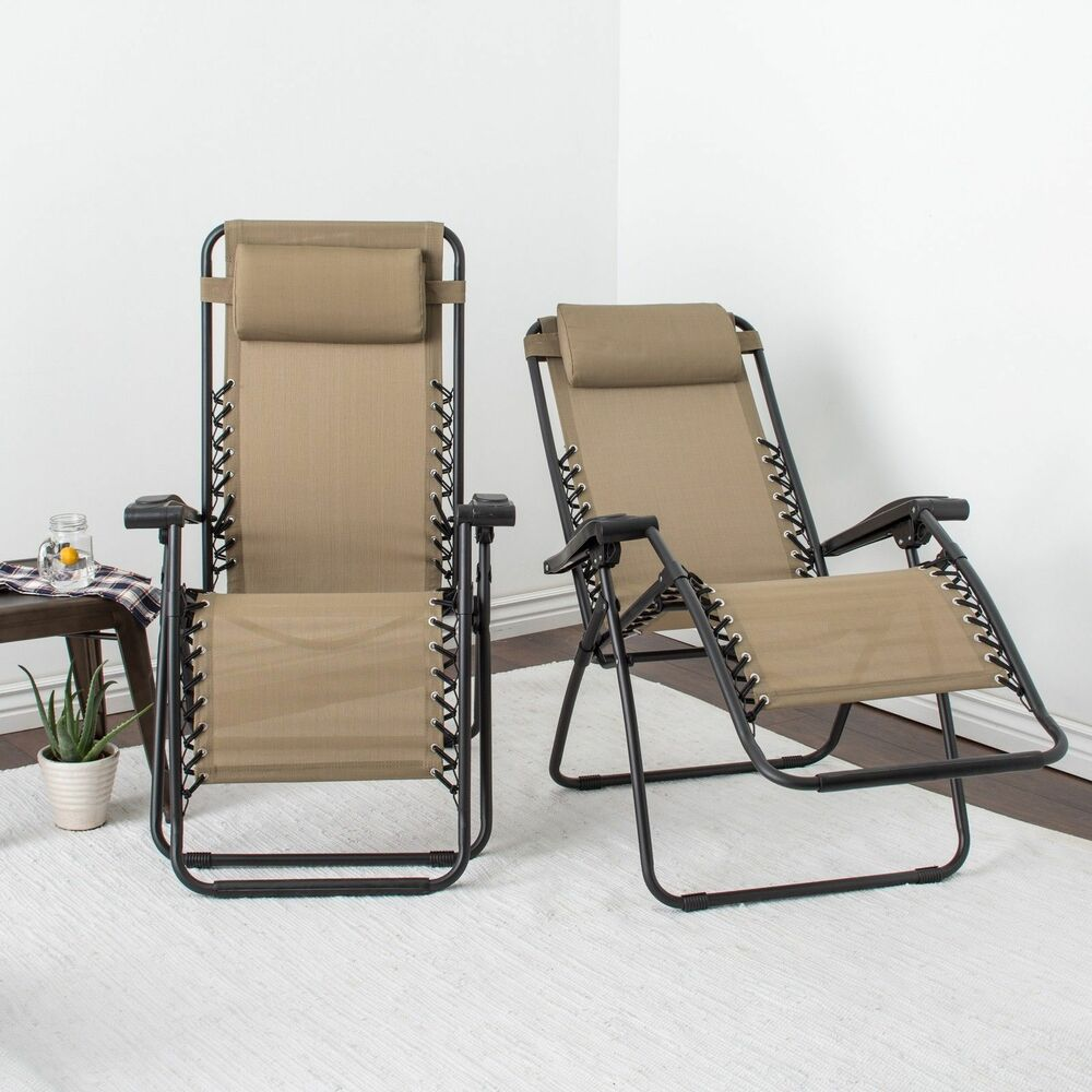 Caravan Canopy Beige Zero Gravity Chairs Pack of Two Reclining Lounge 300 Lb