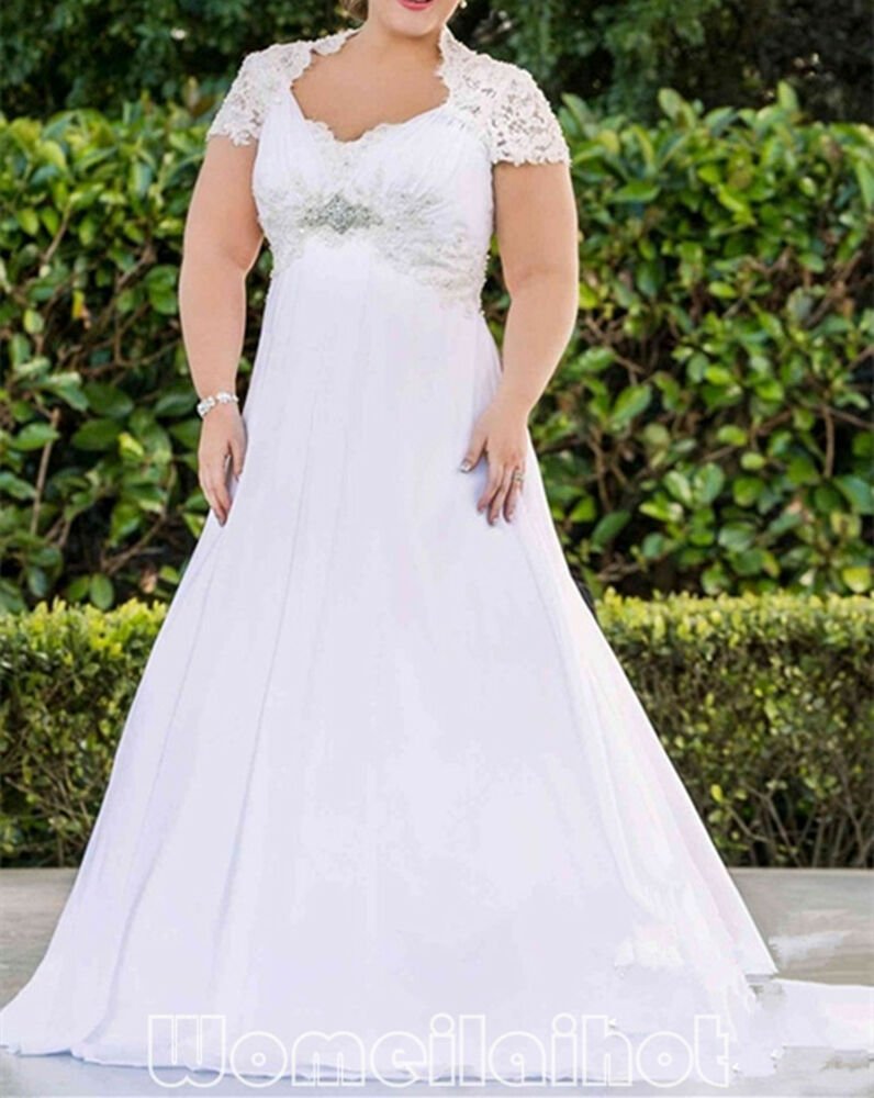 Plus size sexy a line white ivory wedding dress bridal for Wedding dress in ebay