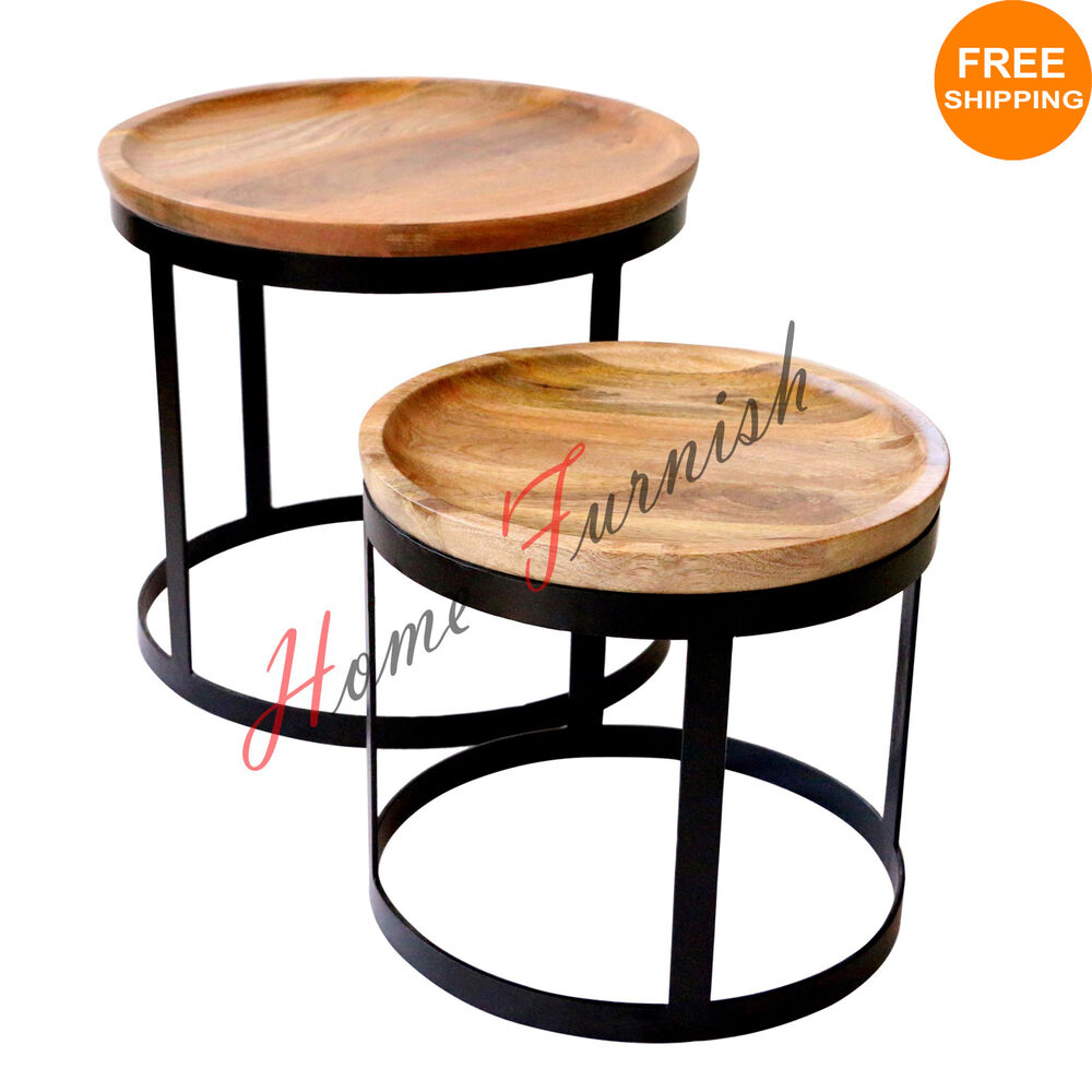 Vintage Look Industrial Style Coffee Table Nested Table Industrial Iron Tables Ebay