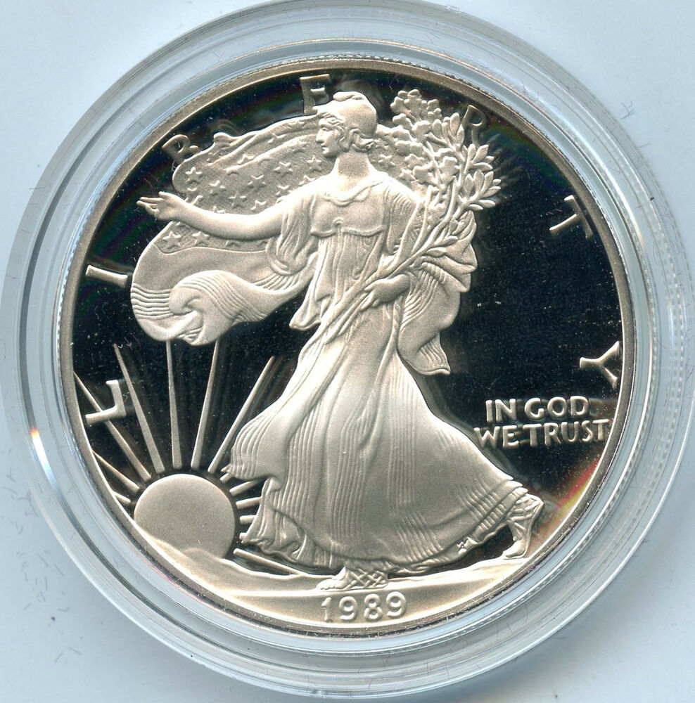 1989 American Eagle Proof Silver Dollar 1 Oz Bullion U