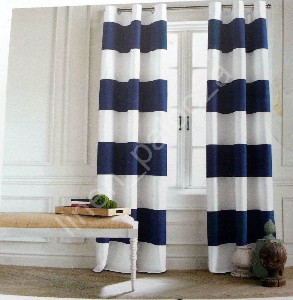 Tommy Hilfiger Cabana Stripe Navy Blue White Window Curtain Panel 96 Pair Grom Ebay