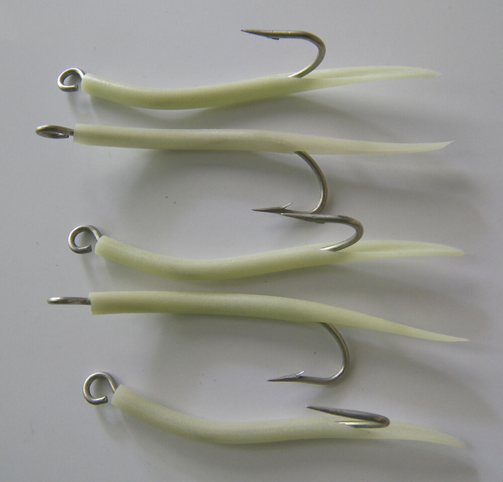 Saltwater fishing 5 pack 6 0 31022 mustad glow tube hooks for Tube fishing lure