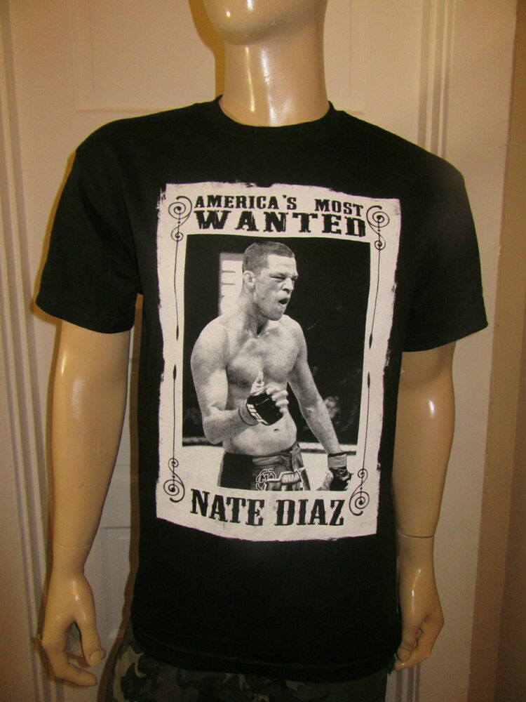Nate Diaz America S Most Wanted Black T Shirt Tee Aaa