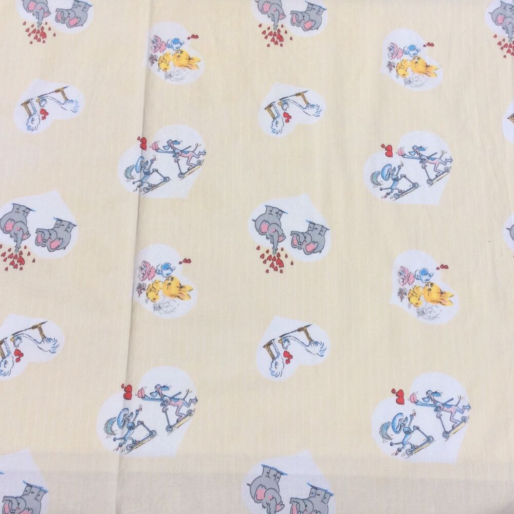 Vintage cotton sheet fabric kids novelty animals bunny for Kids novelty fabric