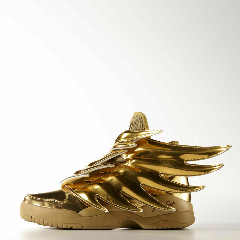 more photos 4170b d1638 Details about Adidas Originals JS Jeremy Scott Wings 3.0 Metallic Gold bear  B35651 Men New
