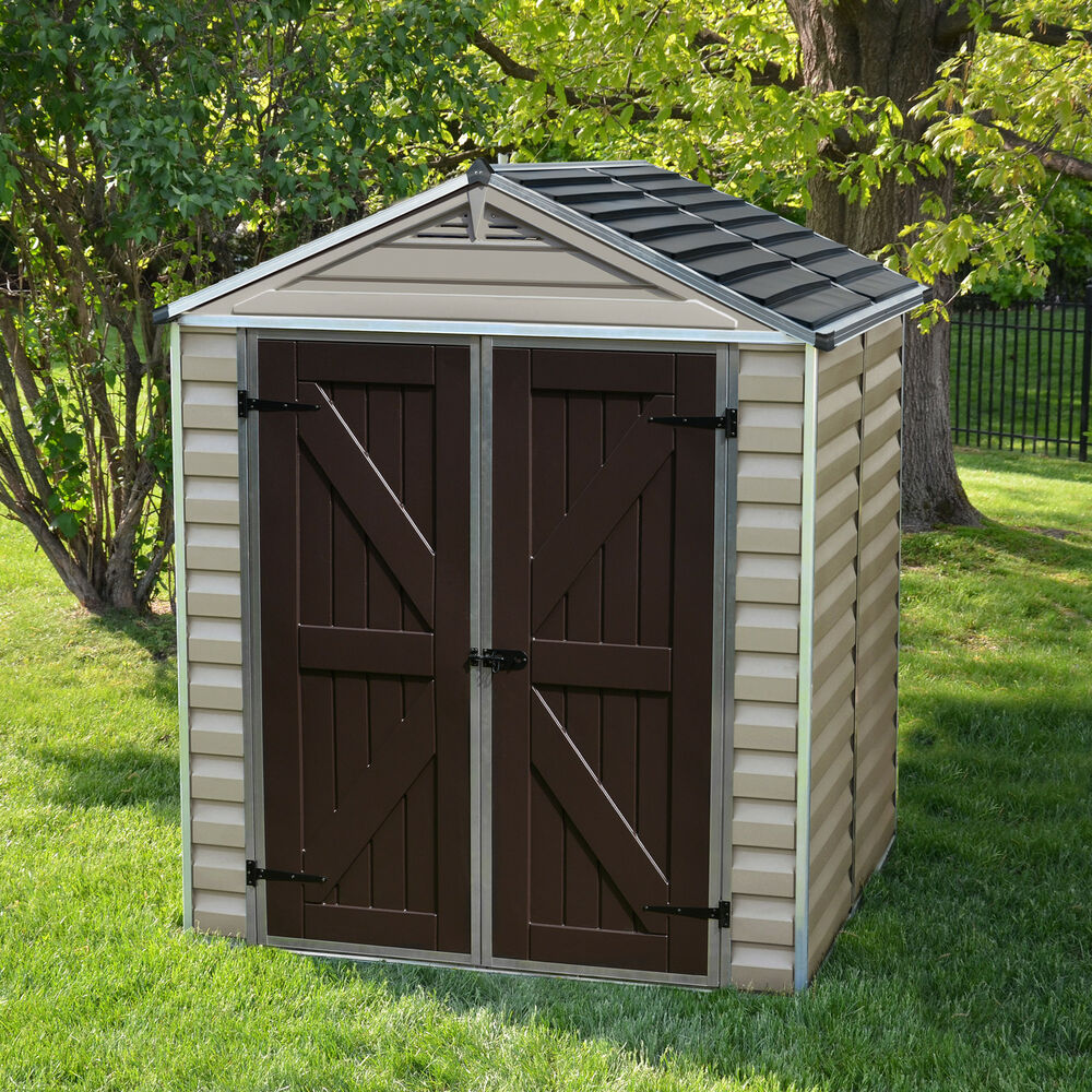 Palram skylight 6 ft w x 5 ft d plastic storage shed ebay for Garden shed tab