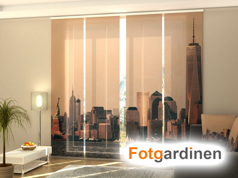 fotogardinen newyork schiebevorhang schiebegardinen 3d fotodruck ma anfertigung ebay. Black Bedroom Furniture Sets. Home Design Ideas