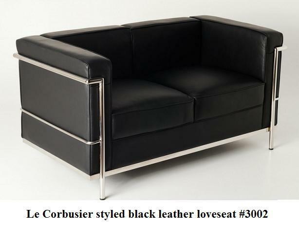 modern le corbusier leather loveseat in black or white 3002 ebay