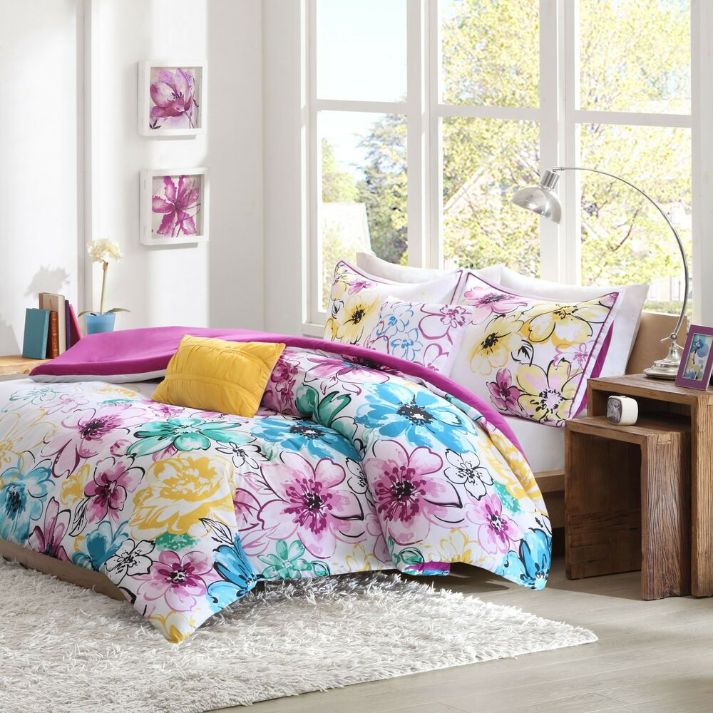 floral comforter set full queen bed flowers girls pink bedding teen teal blue ebay. Black Bedroom Furniture Sets. Home Design Ideas