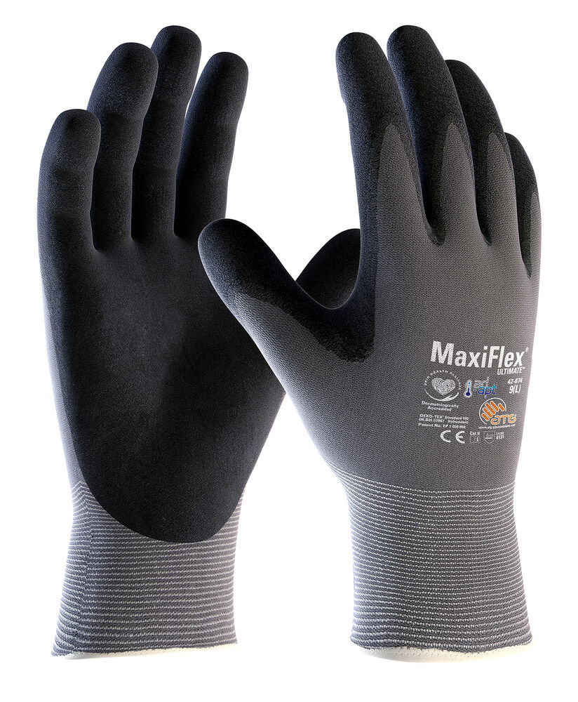 Ebay uk leather work gloves - 2 X Pairs Atg Maxiflex Ultimate 42 874 Nitrile Foam Breathable Work Gloves