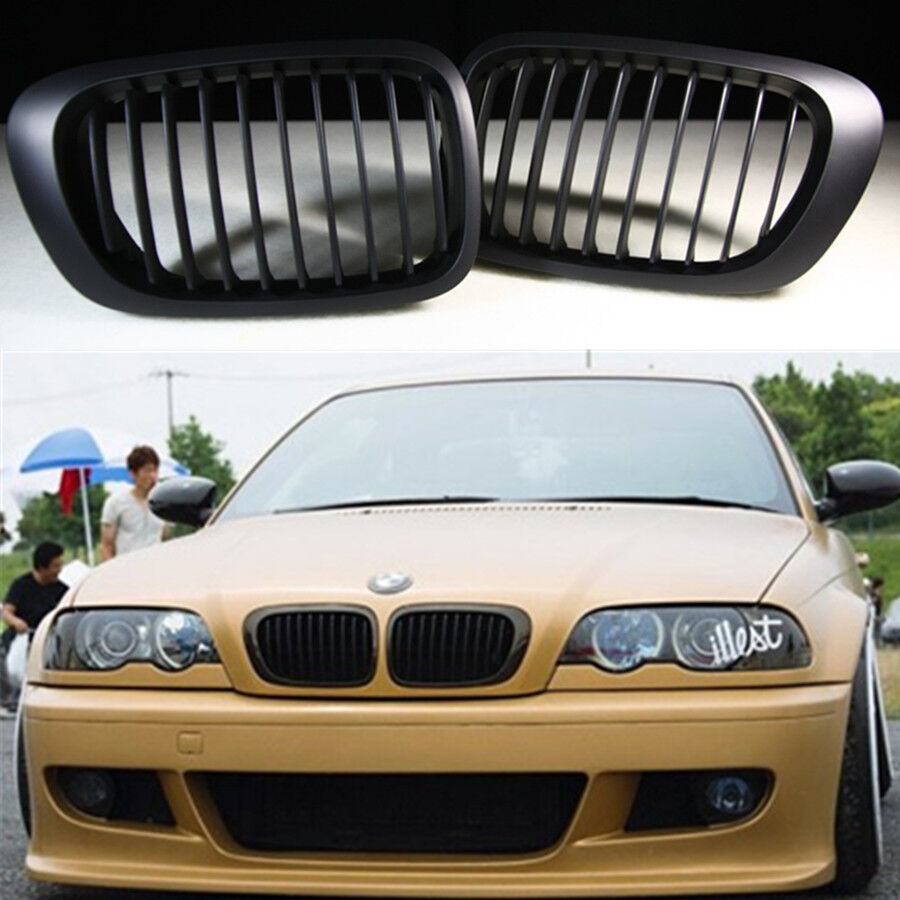 Black Front Kidney Grill Grille For BMW E46 2 Door 2D 3