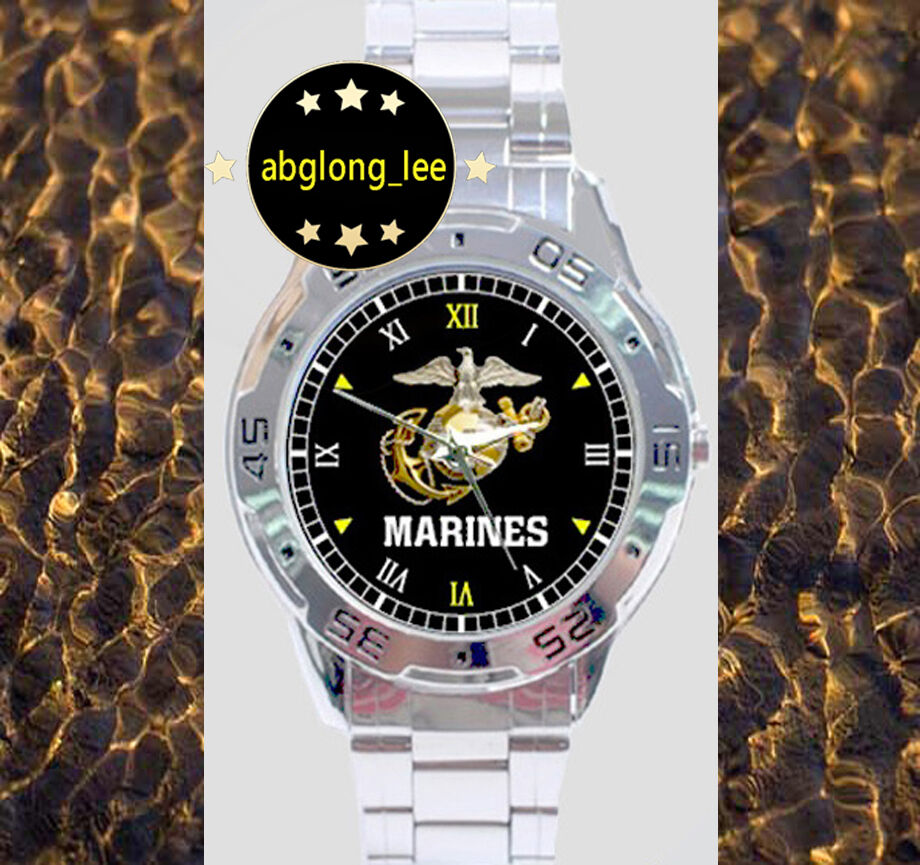 New us marine corp custom chrome men 39 s finish watch wristwatches ebay for Marine watches