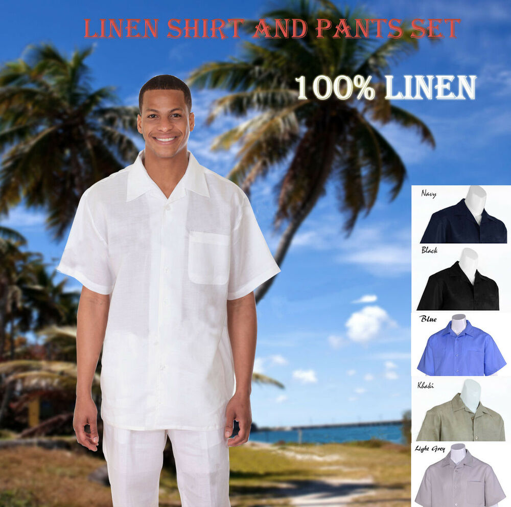 New Men S 2pc Luxury Linen Solid Color Short Sleeve Casual