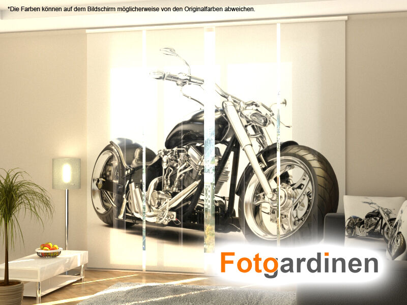 fotogardinen motorrad fl chenvorhang schiebegardinen mit motiv auf ma ebay. Black Bedroom Furniture Sets. Home Design Ideas