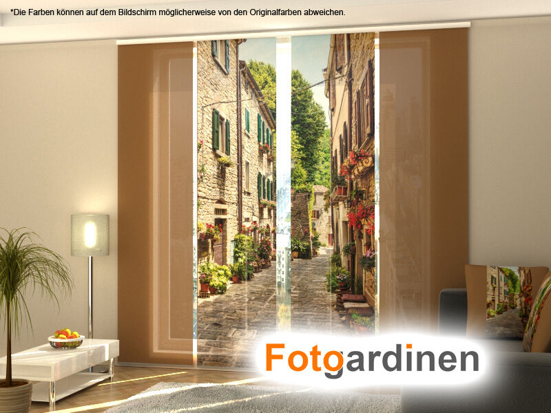 fotogardinen gasse fl chenvorhang schiebegardinen mit motiv auf ma ebay. Black Bedroom Furniture Sets. Home Design Ideas