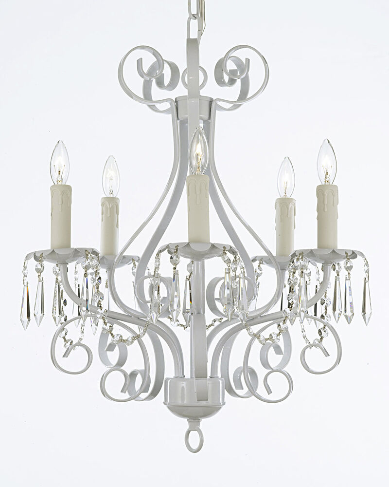 Wrought Iron Chandelier Lighting Country French Crystal