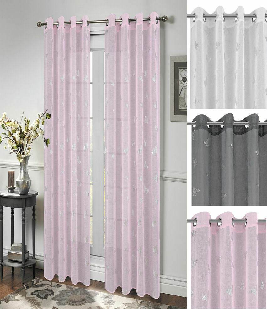 butterfly voile net curtain eyelet ring top panel ebay. Black Bedroom Furniture Sets. Home Design Ideas