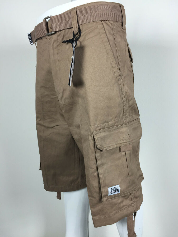 NTW Mens Pro Club Khaki Twill Cargo Shorts Casual Short ...