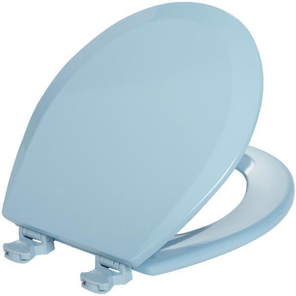 Bemis Mayfair Sky Blue Round Molded Wood Toilet Seat With