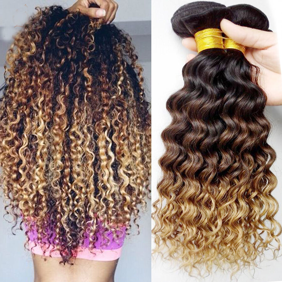 3 Bundles Brazilian Deep Curly Virgin Hair Ombre Weft