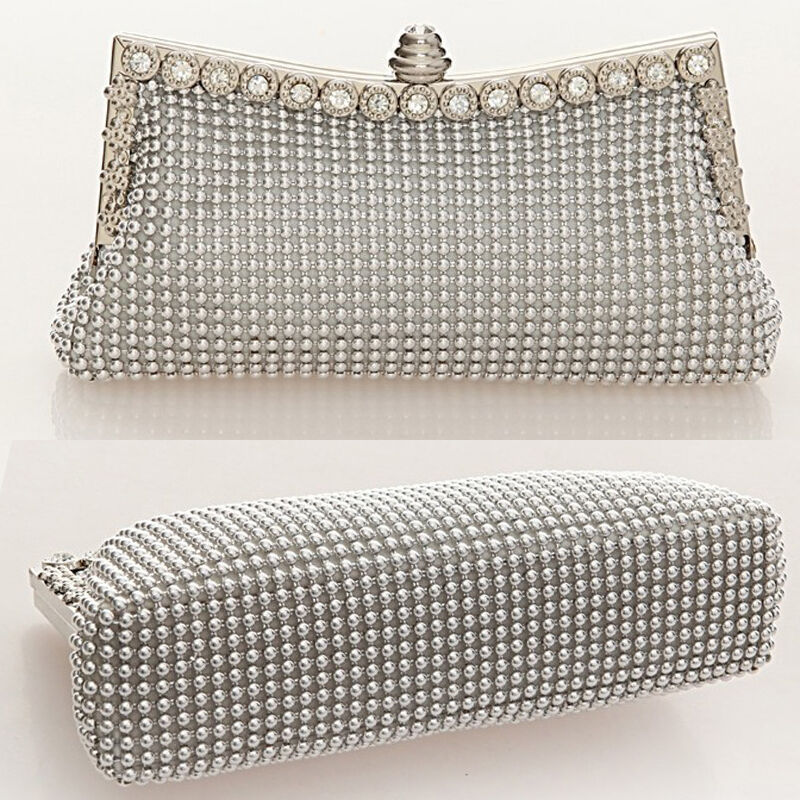 Beaded Clutch Bag Diamante Purse Bridal Handbag Wedding Ladies Evening Prom | EBay