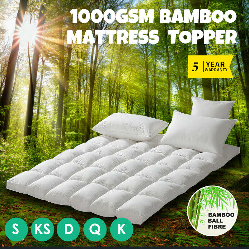 All Size 1000gsm Bamboo Fibre Pillowtop Mattress Topper