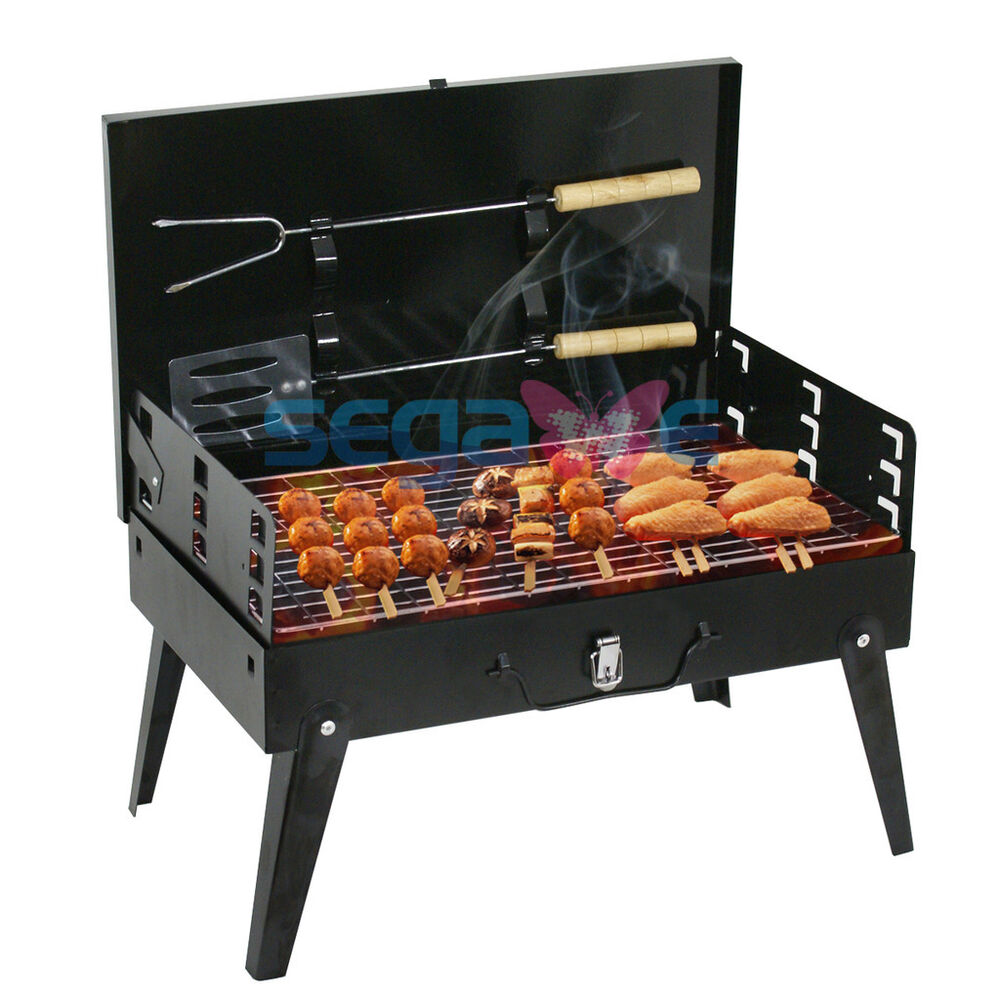 Black Outdoor BBQ Grill Folding Charcoal Barbecue Cooking