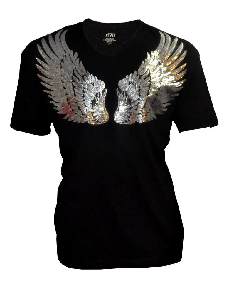 Women Plus Size With Sequin Angel Wings Bling Bling T