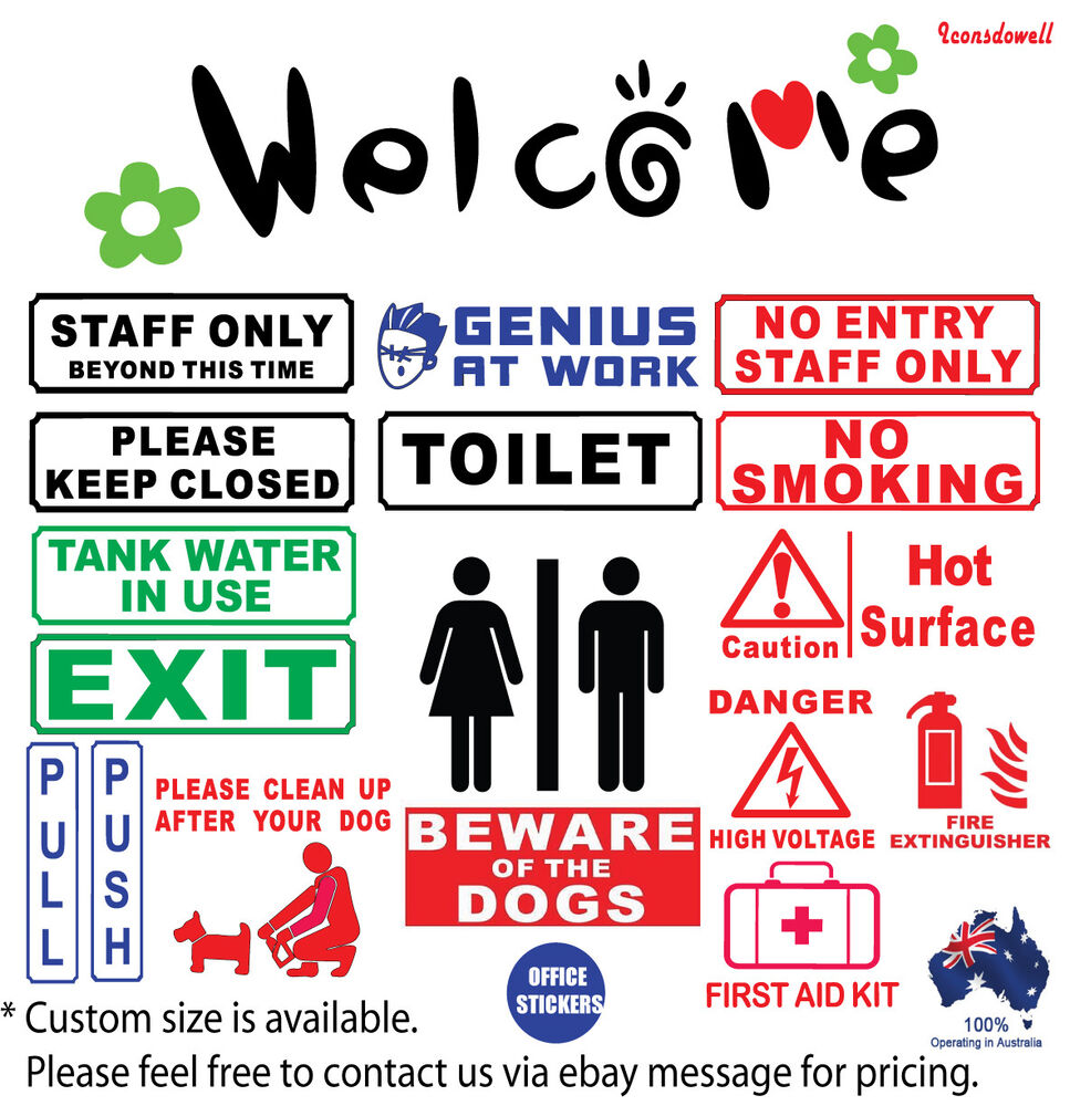 Welcome Office Wall Signs Stickers Genius At Work Staff