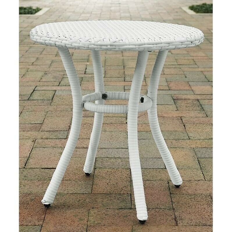 crosley palm harbor outdoor wicker round end table patio tables in white ebay. Black Bedroom Furniture Sets. Home Design Ideas