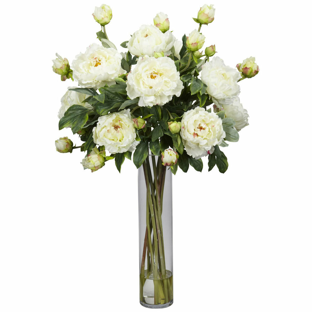 Quot large artificial silk white peony flower centerpiece