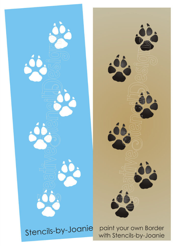 Stencil wolf tracks paw print animal border cabin outdoor lodge signs u paint ebay - Paw print wall border ...