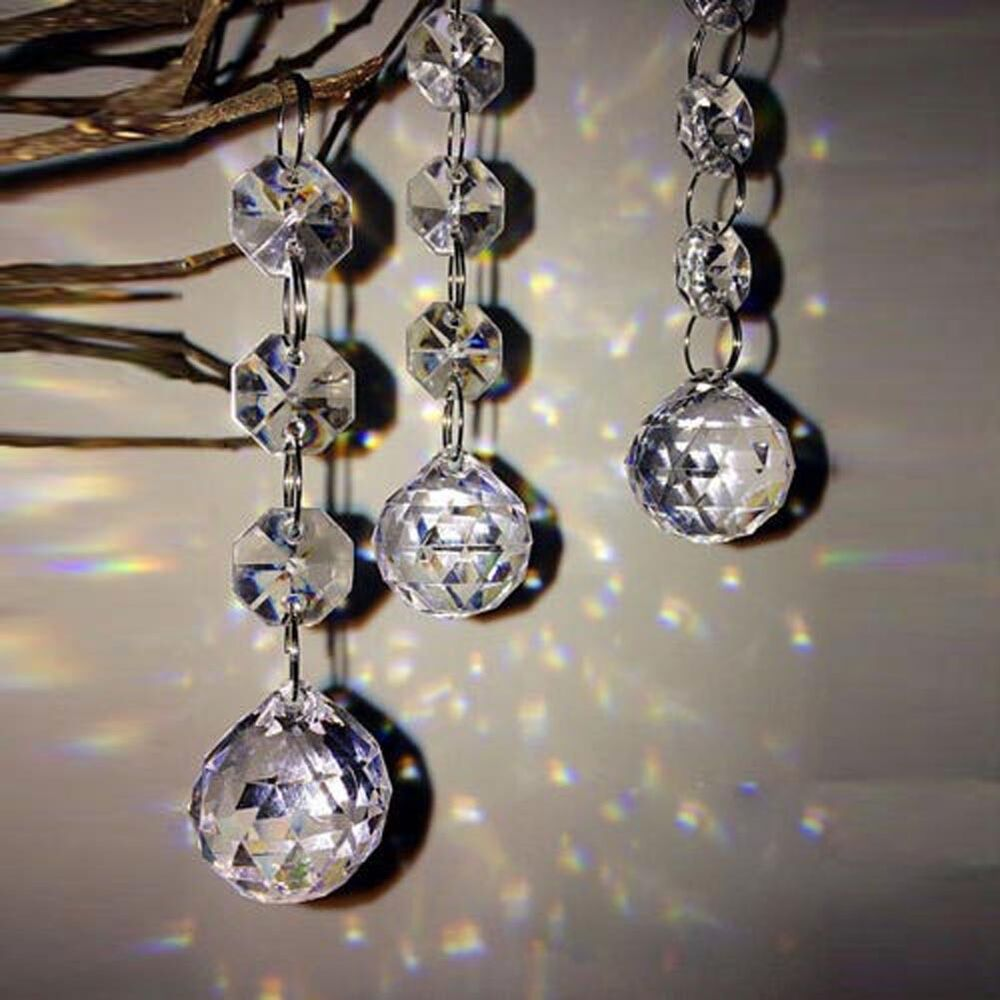 10pcs acrylic crystal diamond garland chandelier hang for Plastic chandeliers for parties