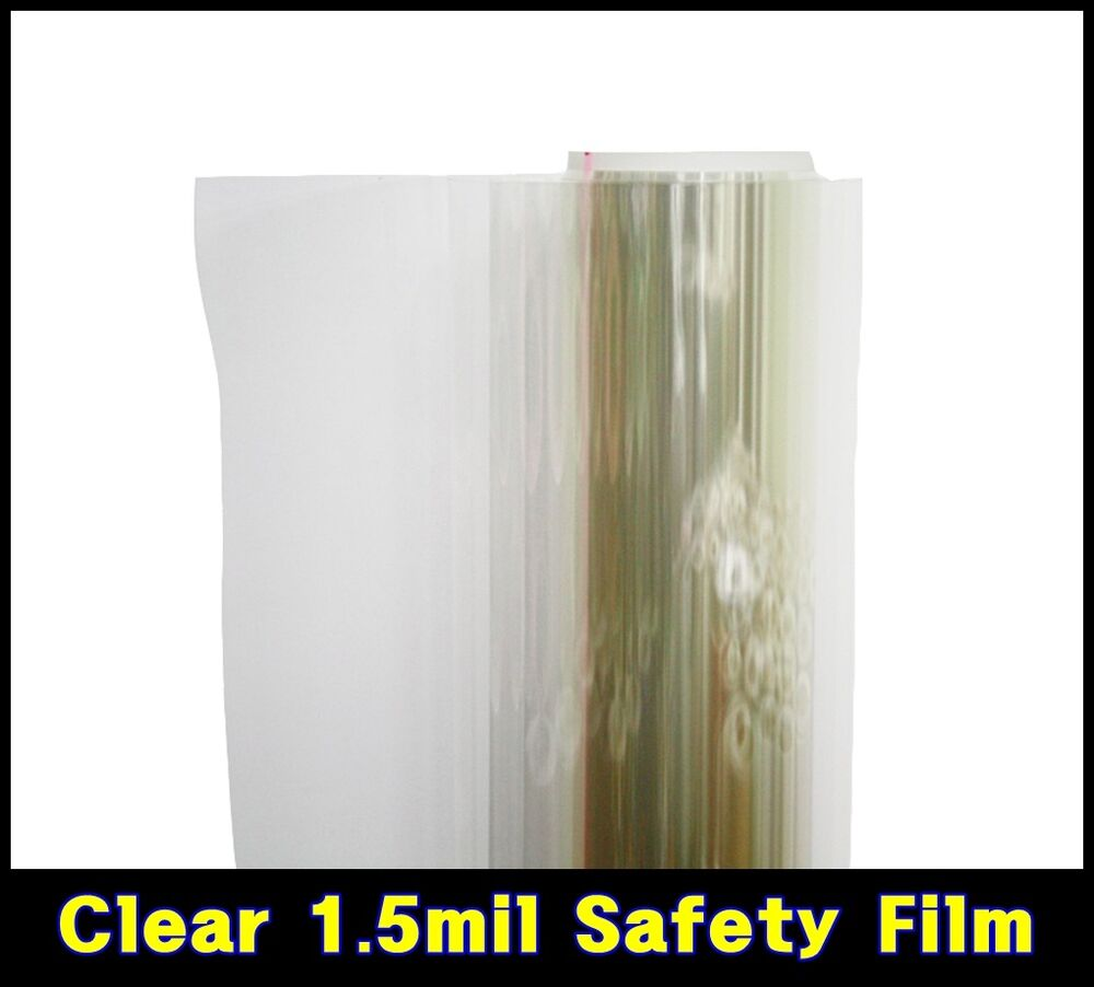 wide 20 50cm 1 5mil tint safety clear film window security residential uv roll ebay. Black Bedroom Furniture Sets. Home Design Ideas