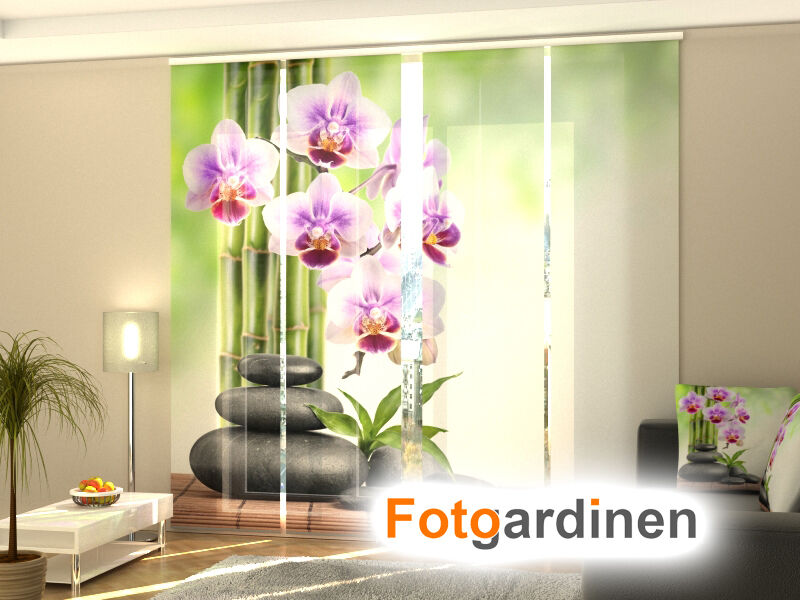 fotogardinen orchidee schiebevorhang schiebegardinen 3d fotodruck ma anfertigung ebay. Black Bedroom Furniture Sets. Home Design Ideas
