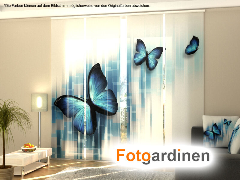 fotogardinen schmetterling schiebevorhang schiebegardinen 3d fotodruck auf ma ebay. Black Bedroom Furniture Sets. Home Design Ideas