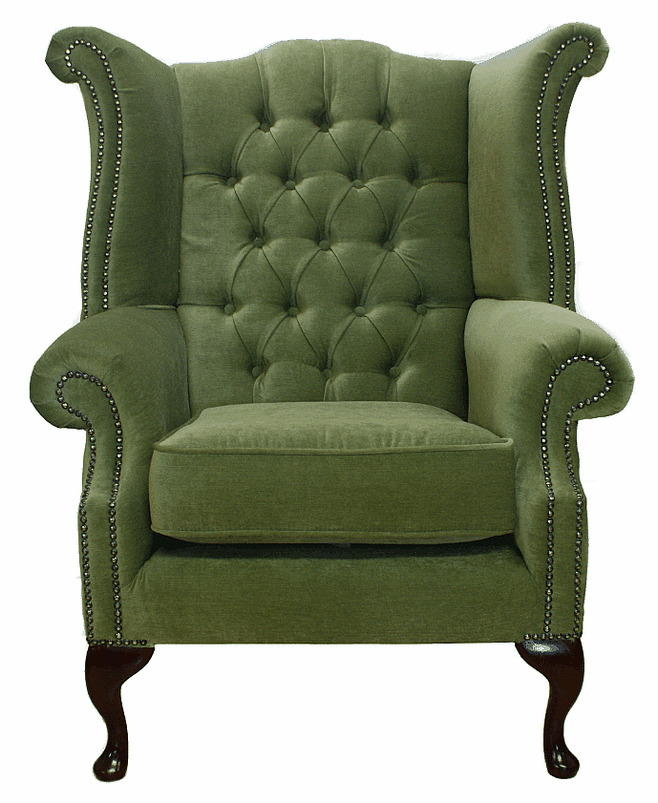 Fabric Furniture: Chesterfield Armchair Queen Anne High Back Fireside Wing